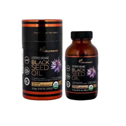 كبسولات جيلاتينية رخوة من زيت الحبة السوداء 500 ملجم/ 90 كبسولة جيلاتينية/ خام ومعصور على البارد.