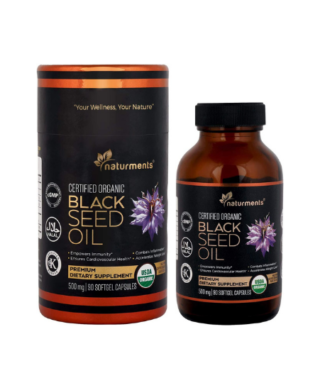 Naturments Premium Black Seed Oil Capsules Softgels 100% Organic Unrefined Non GMO Cold Pressed Extra Virgin Nigella Sativa Pure Halal Kalonji Oil – 90 Softgels (500 mg Each)